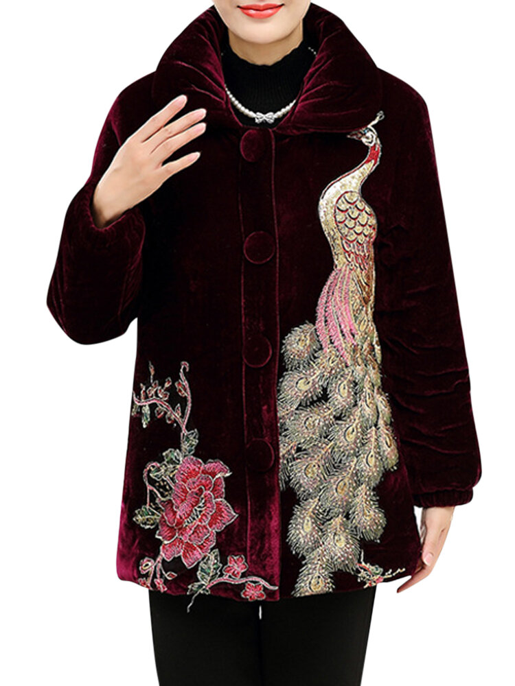 L-4XL Elegant Women Peacock Embroidery Coats