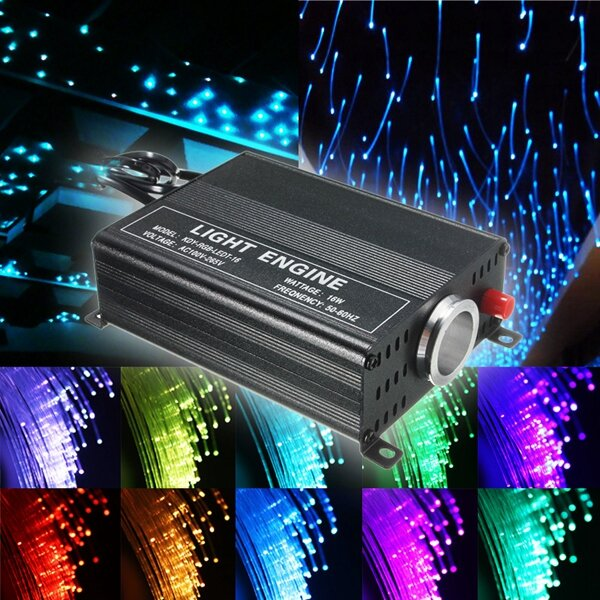 2m Diy 16w Rgb 150 Pcs Led Fiber Optic Star Ceiling Lights Kit 0 75mm 24 Ir Remote
