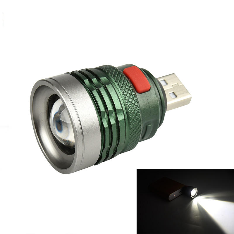 XANES 2401A XPE 120Lumens 3Modes USB Rechargeable Portable Zoomable USB Light LED Flashlight Head