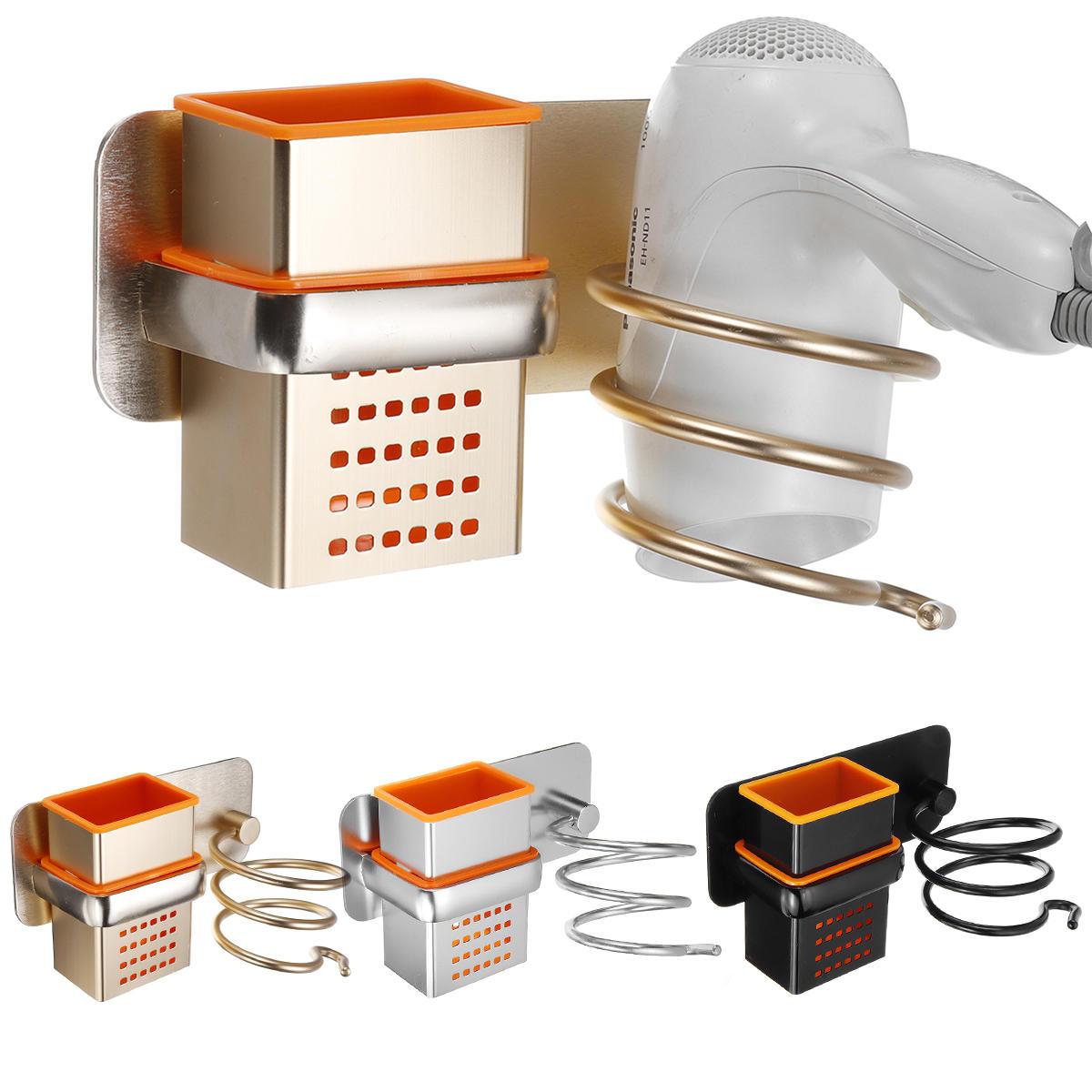 Soporte para secador de pelo con copas para el hogar Montaje en pared Cuarto de baño Accesorios Secador de pelo Estante Secador de pelo de metal negro