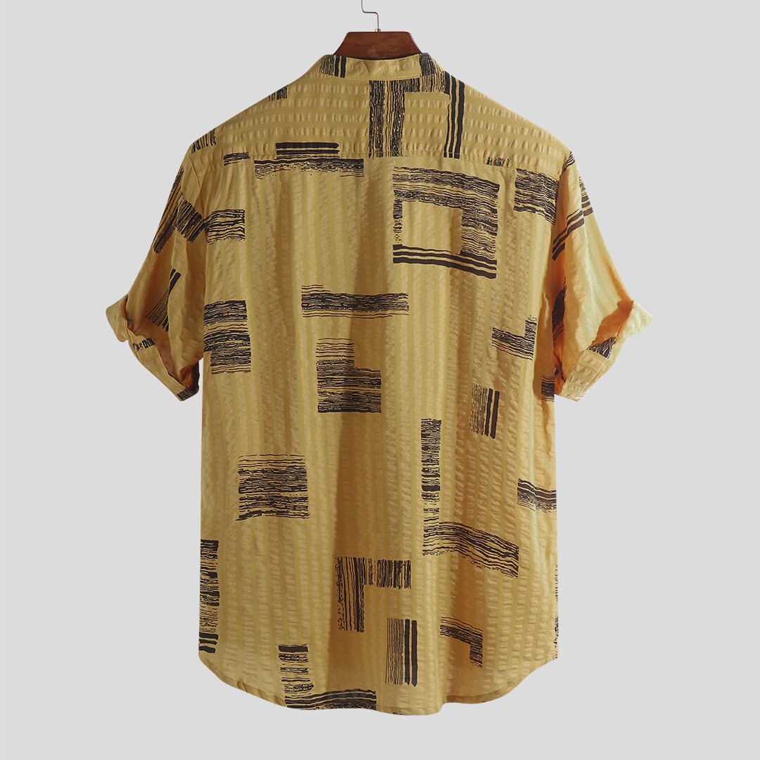 Mens Casual Stand Collar Printing Buttons Loose Fit Summer Short Sleeve Shirts - 7