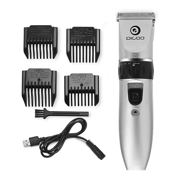 Digoo BB-T1 USB Ceramic R-Blade Hair Trimmer Rechargeable Hair Clipper 4X Extra Limiting Comb Silent Motor for Children фото