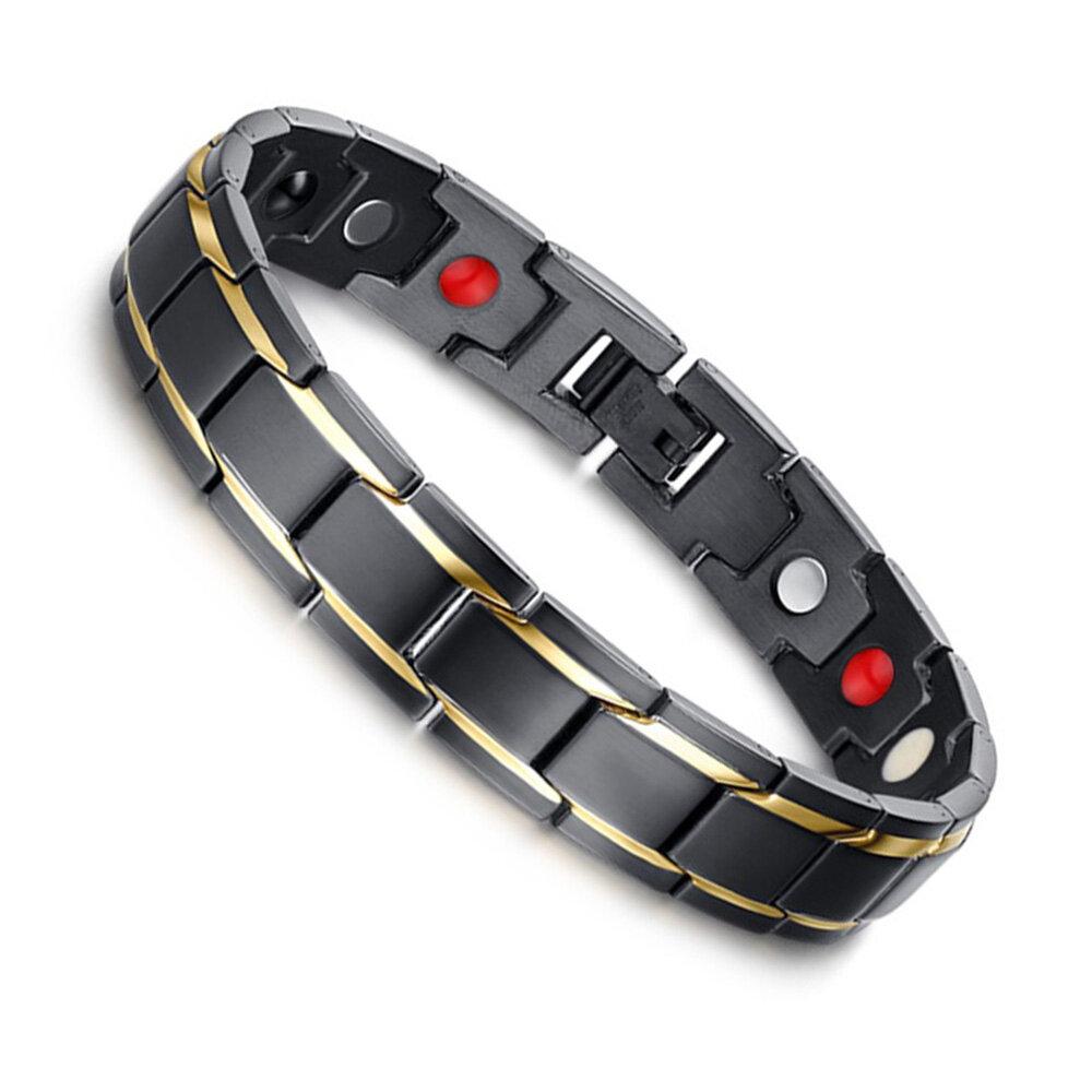 Negro 316L titanio Salud joyería pulsera magnética para hombres