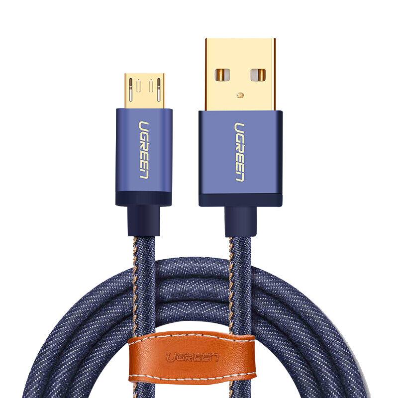Ugreen Micro USB para USB Denim Trançado 2A Fast Cabo de Carregamento Cabo de Dados