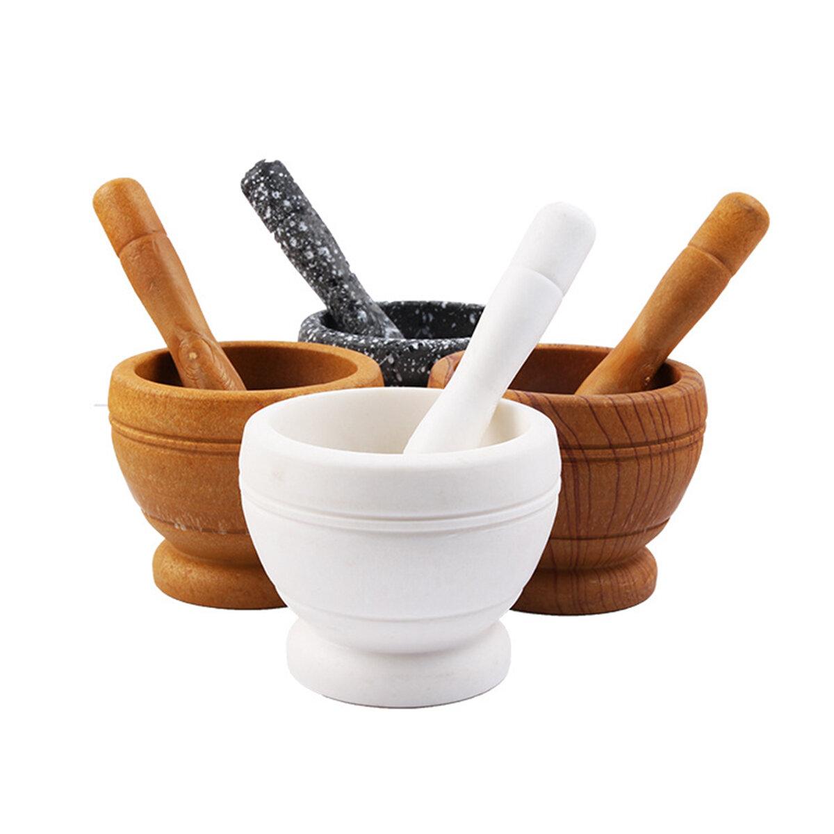 Mortar + Pestle Grinder Pounder Press Mincer Spice & HerbCrusher Pedestal Bowl Pepper Grinder, Banggood  - buy with discount