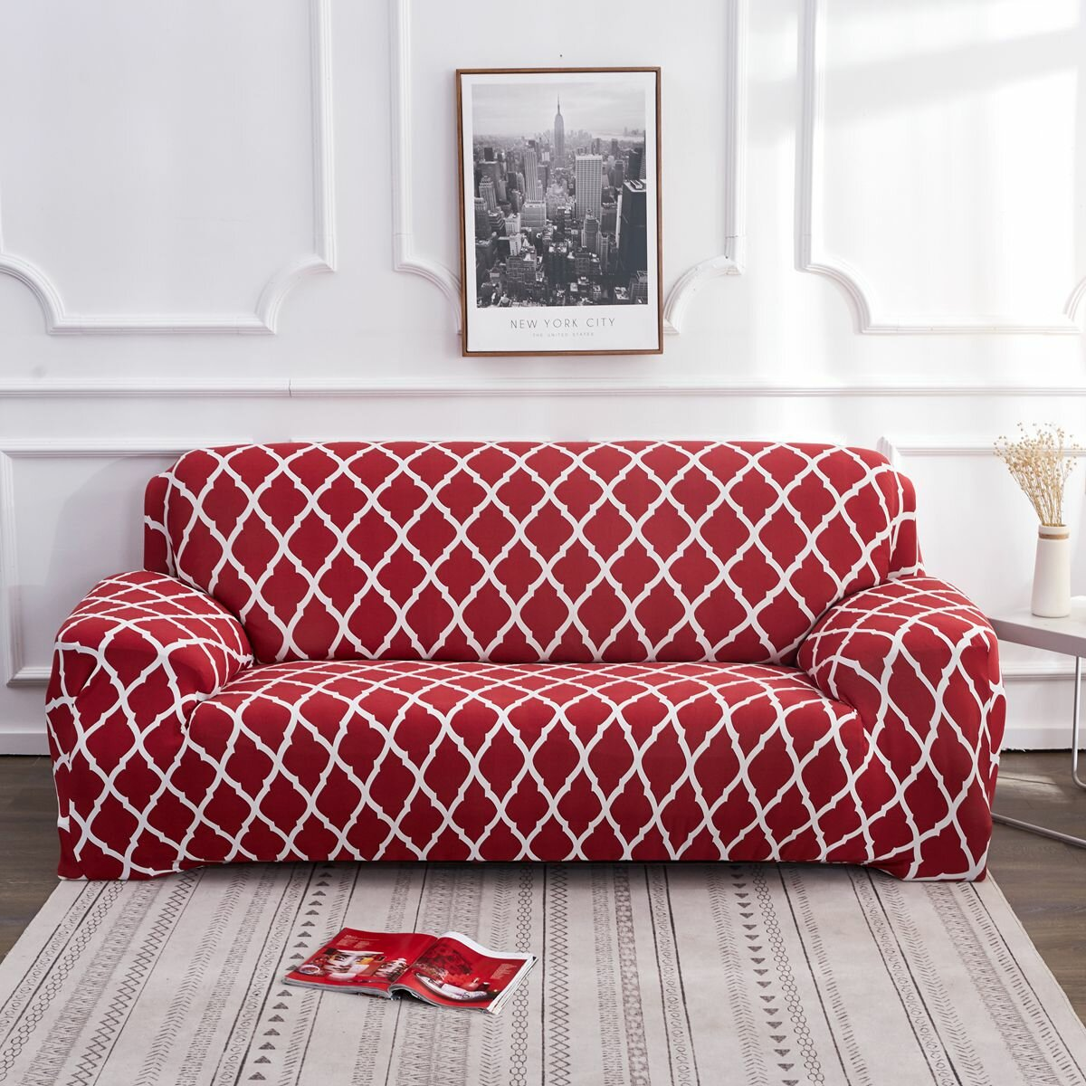 1 2 3 4 Seater Red Elastic Sofa Chair Covers Slipcover Settee Stretch Floral Couch Protector