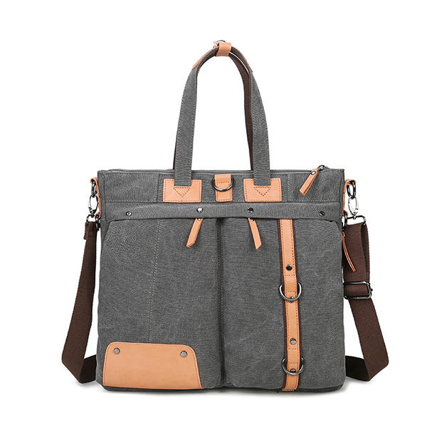 Men Business PU Leather Solid Backpack Casual Computer Bag - 12