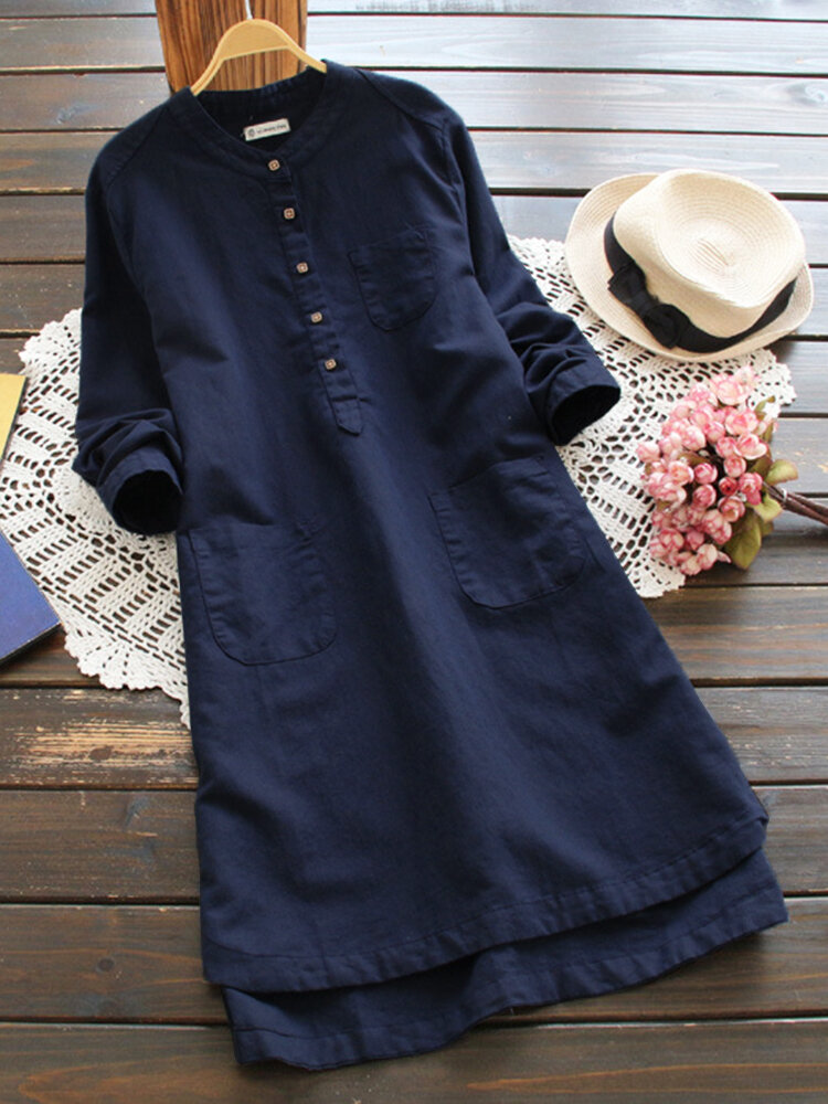 女性のビンテージロングスリーブボタンコットンミニシャツドレス