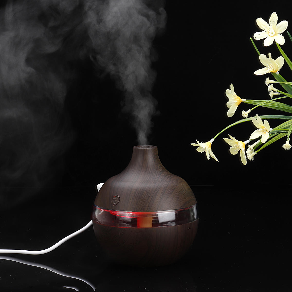 300ml 7 Color Night Lights Essential Oil Diffuser Aromatherapy Cool Mist Humidifier for Office Home Study Yoga Spa Baby USB Charging - 12