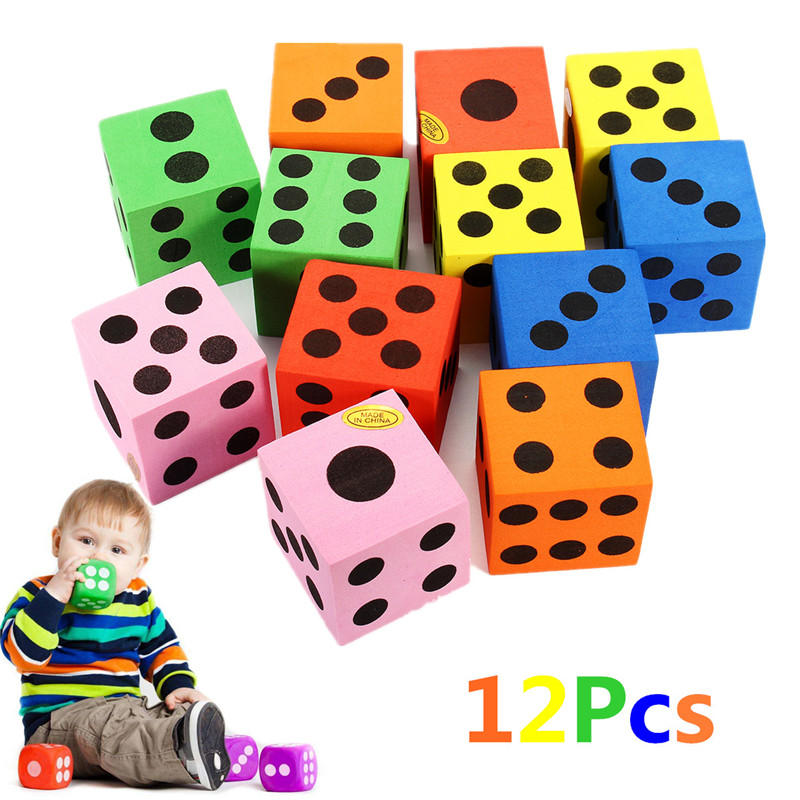 12Pcs Large Jumbo Colorful Foam Dice Kids Baby Educational Play Toy Puzzle Game - 2