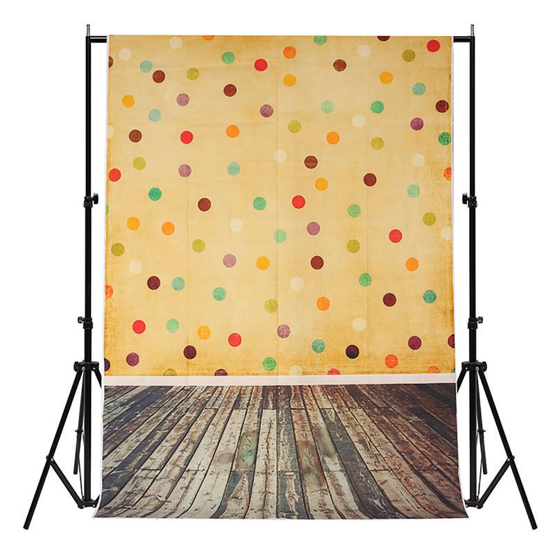 5x7FT Vinyl Cute Yellow Colorful Dot Wood Floor Photography Backdrop Background Studio Prop