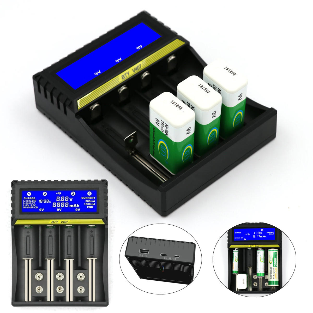 Universal Smart LCD Charger Multifuncation Lithium Battery Charger For 9V AA AAA Ni MH Ni CD 18650 Li ion Battery Charger lot - 7