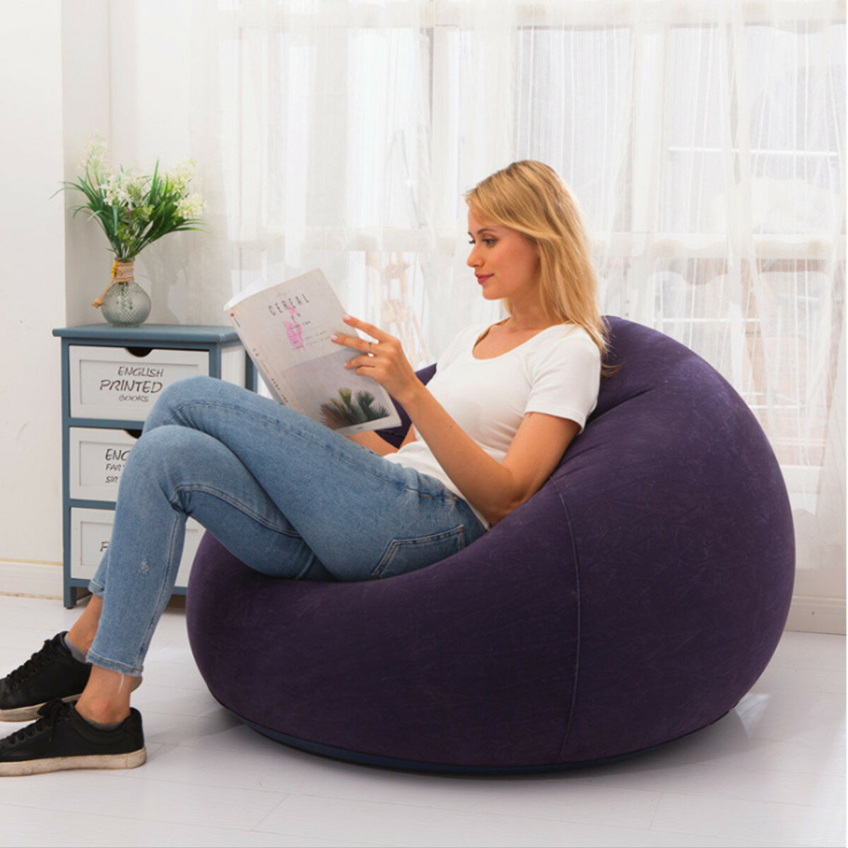 110x85cm Large Inflatable Chair Bean Bag PVC Indoor/Outdoor Garden Furniture Lounge Adult Lazy Sofa No Filler Folding Be
