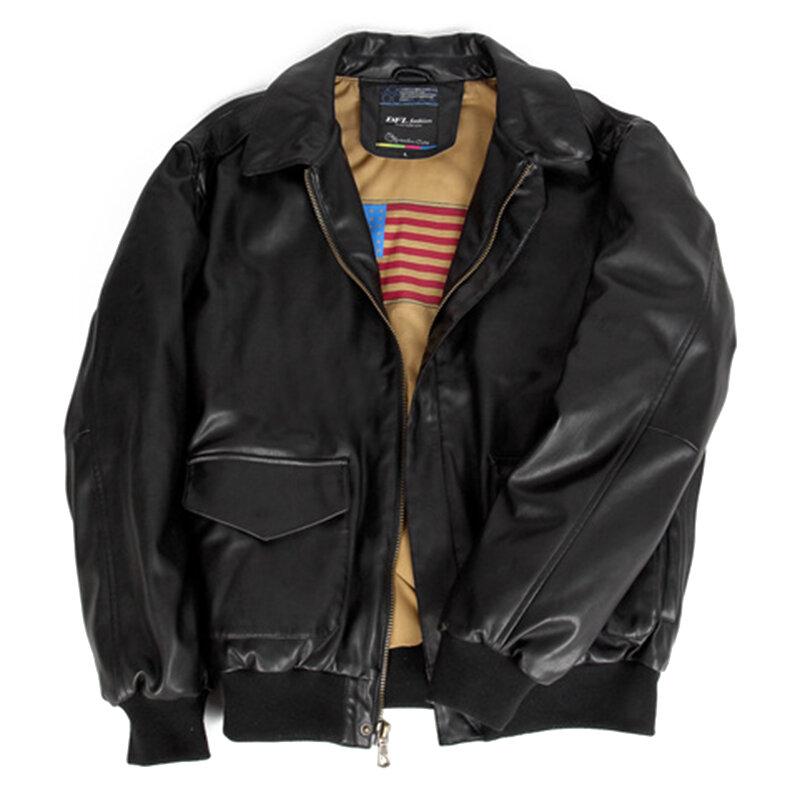 Men Zipper Buckle Turn-down Collar Leather Jacket - 6