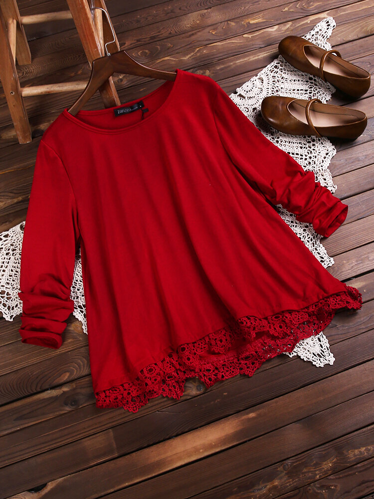 European American Style Women Lace Patchwork Färg T-shirts Toppar