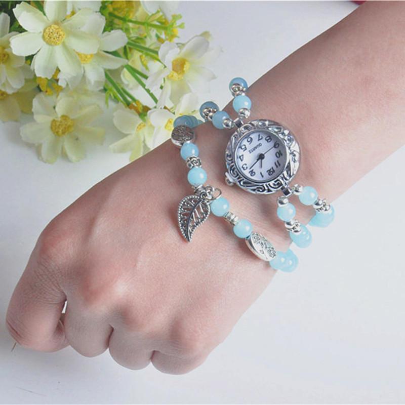 Style National Circulaire Petit Cadran Femmes Simple Vintage Montre Bracelet Montre À Quartz