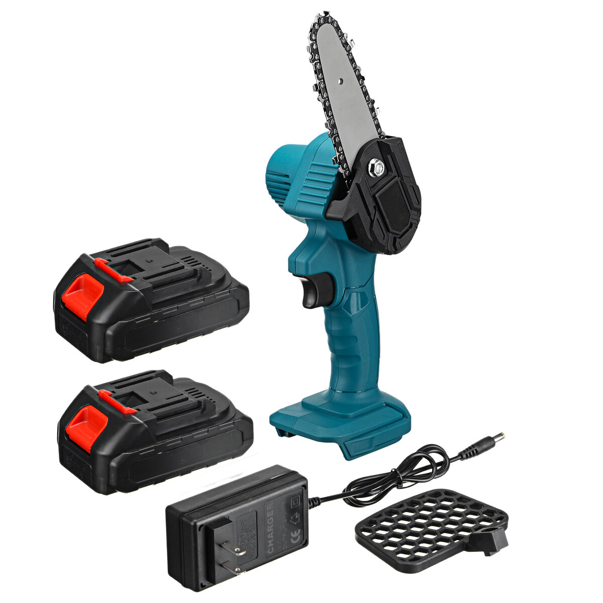 550W 24V 4'' Mini Cordless One-Hand Electric Chain Saw Woodworking Wood Cutter W/ 2pcs Battery