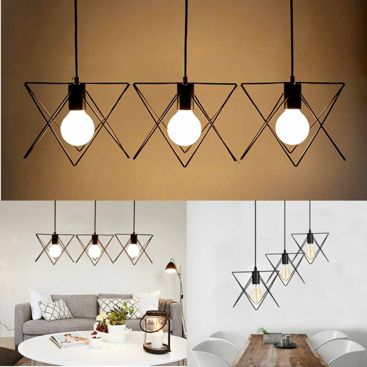 3 In 1 Metall Weinlese Deckenleuchte hängende Lampen Rahmen Lampenschirm Befestigungs Leuchter Innenbeleuchtung