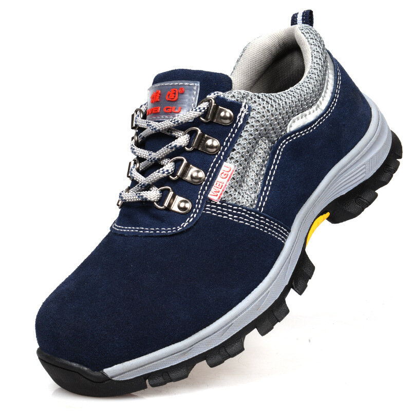 AtreGo Men Steel Toe Work Shoes Safety Anti-smash Shoes Mesh Trainers Lightweight Casual Hiking Shoes - 1