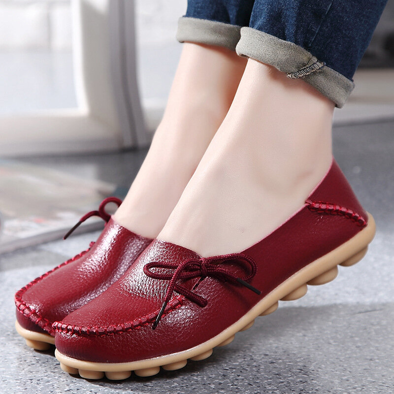 LOSTISY US Size 5 13 Women Soft Comfortable Lace Up Breathable Casual Leather Flats Shoes - 12