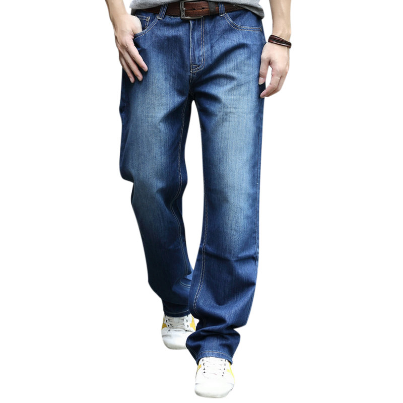 Mens Big Size Loose Casual Mid Rise Straight Legs Casual Jeans Denim Pants - 1