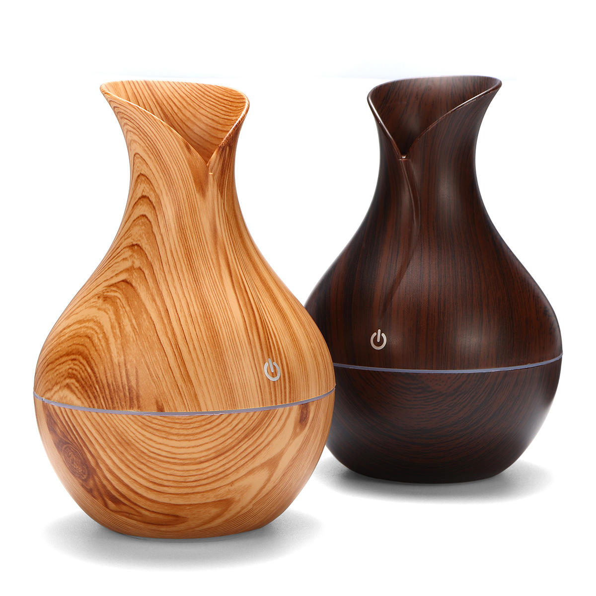 USB Electric Wood Grain Ultrasonic Cool Mist Humidifier Aroma Essential Oil Diffuser LED lights - 2