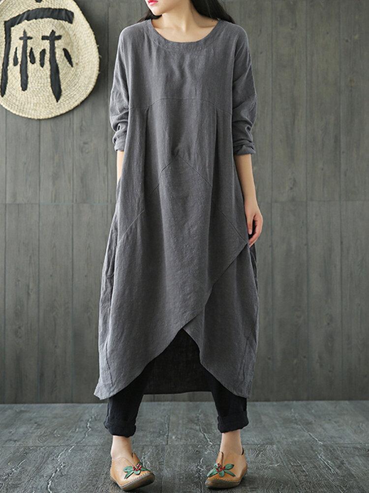 Vintage Kadın Cep Saf Renk Düzensiz Maxi Elbise