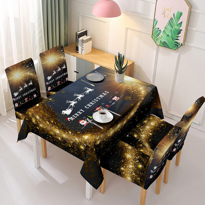2020 Christmas Dustproof Table Cover Chair Cover Rectangular Tablecloth Polyester Xmas Dinning Table Cover New Year Gift