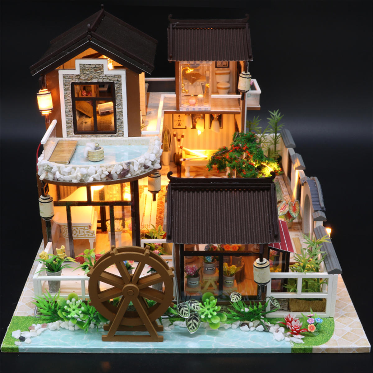 Robotime Miniature Green Garden With Furniture Children Adult Model Building Kits Doll House - 3