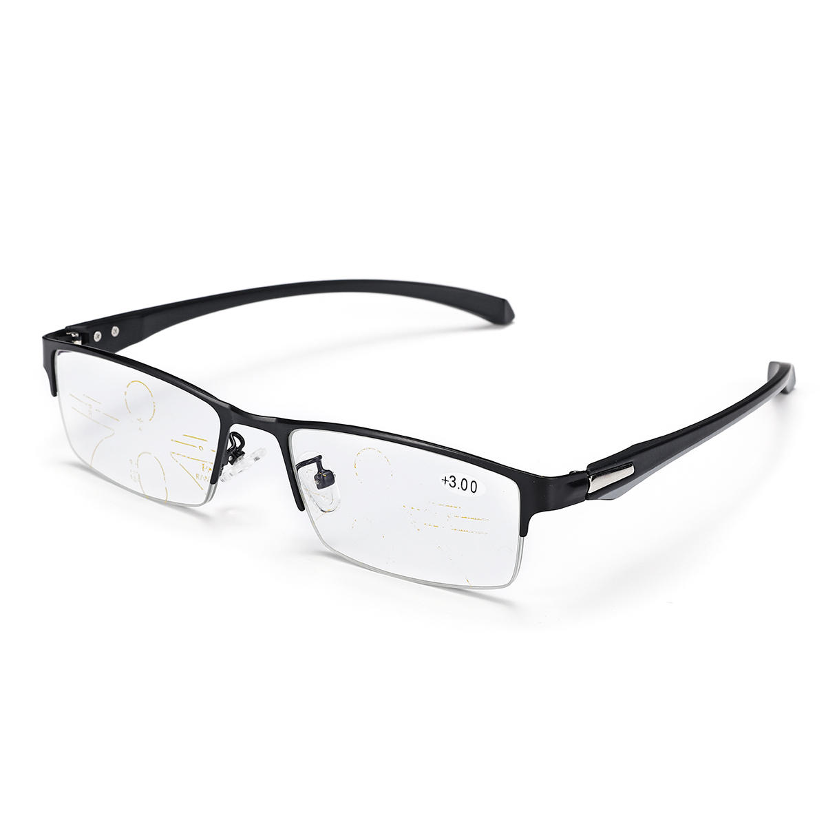 Progressive Multi Focus Photochromic Half Rimless Reading Glasses Sunglasses