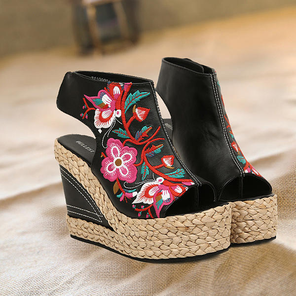 New Women Straw Retro Heeled Comfortable Embroidered Shoes Summer Outdoor Wedge Sandals Shoes - 3