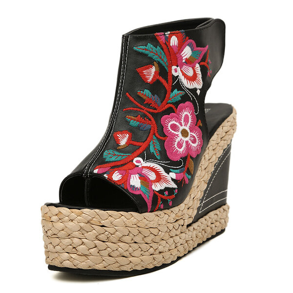 New Women Straw Retro Heeled Comfortable Embroidered Shoes Summer Outdoor Wedge Sandals Shoes - 4