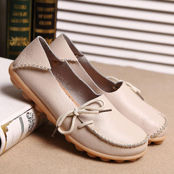 LOSTISY US Size 5 13 Women Soft Comfortable Lace Up Breathable Casual Leather Flats Shoes - 4
