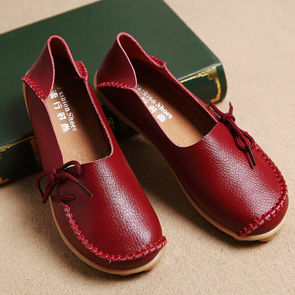LOSTISY US Size 5 13 Women Soft Comfortable Lace Up Breathable Casual Leather Flats Shoes - 1