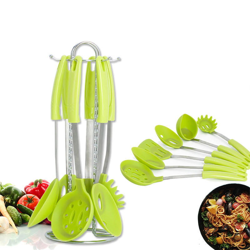 6 Pieces Stainless Steel Silicone Cooking Utensil Set with Premium Stand Cooking Spoon Spatula Soup Ladle Strainer Kitchen Supplies - 1