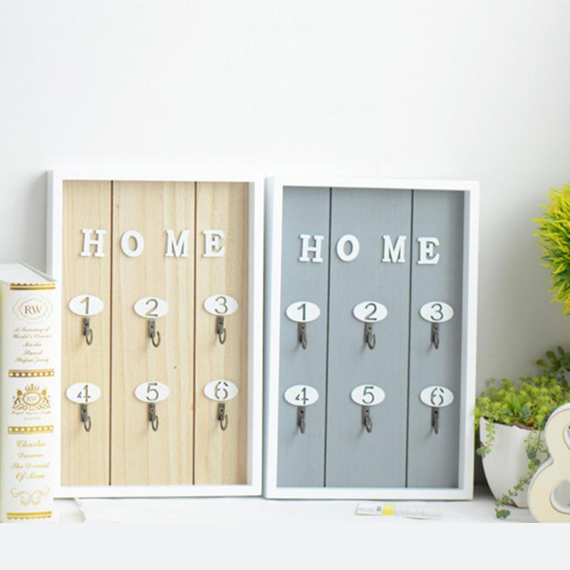 Wooden Key Box Shabby Wall Hanging Storage Keys Hook Cabinet Home Decorations