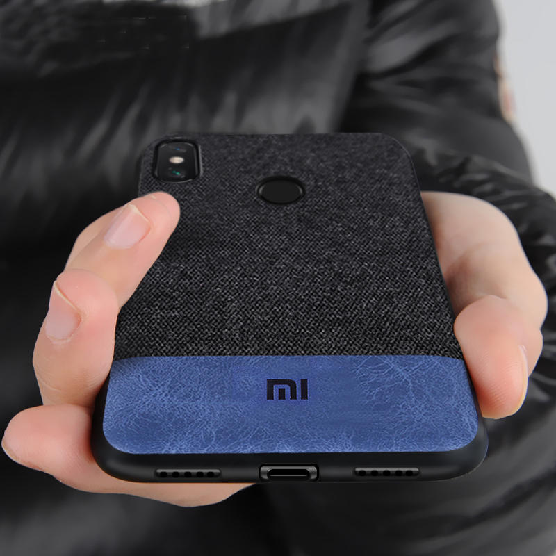 Bakeey Fabric Splice Soft Silicone Edge Shockproof Protective Case For Xiaomi Redmi Note 6 Pro
