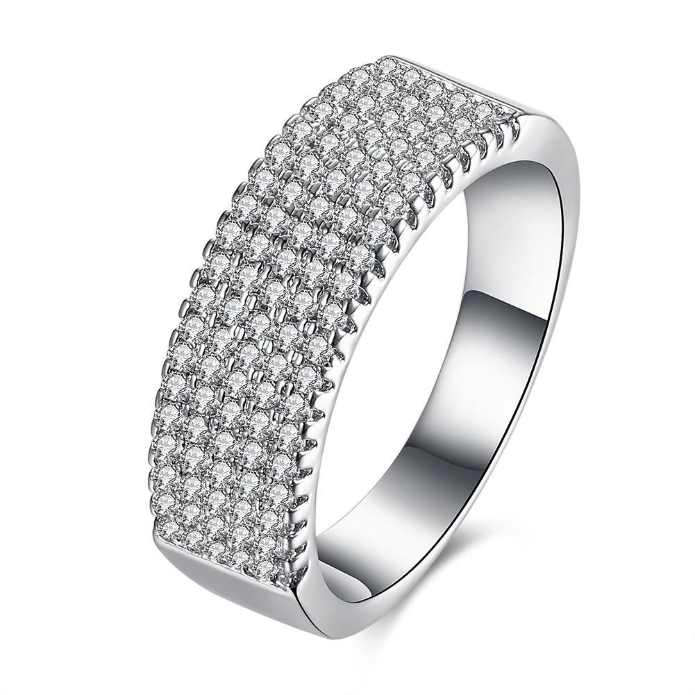 Inalis zircon platinado chapado ancho anillo regalo boda dedo anillos