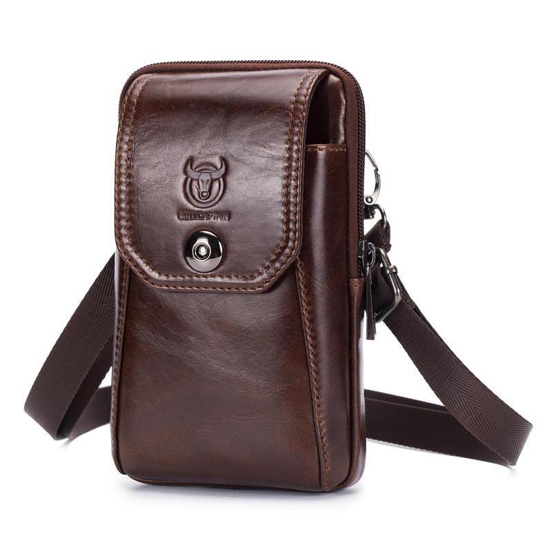 Bullcapatain Mens Waist Phone Pouch Vintage Belt Loop Wallets Shoulder Bag