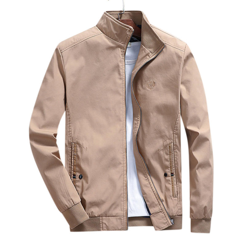 Mens Spring Autumn Stand Collar Cotton Embroidery Solid Color Coats Jacket