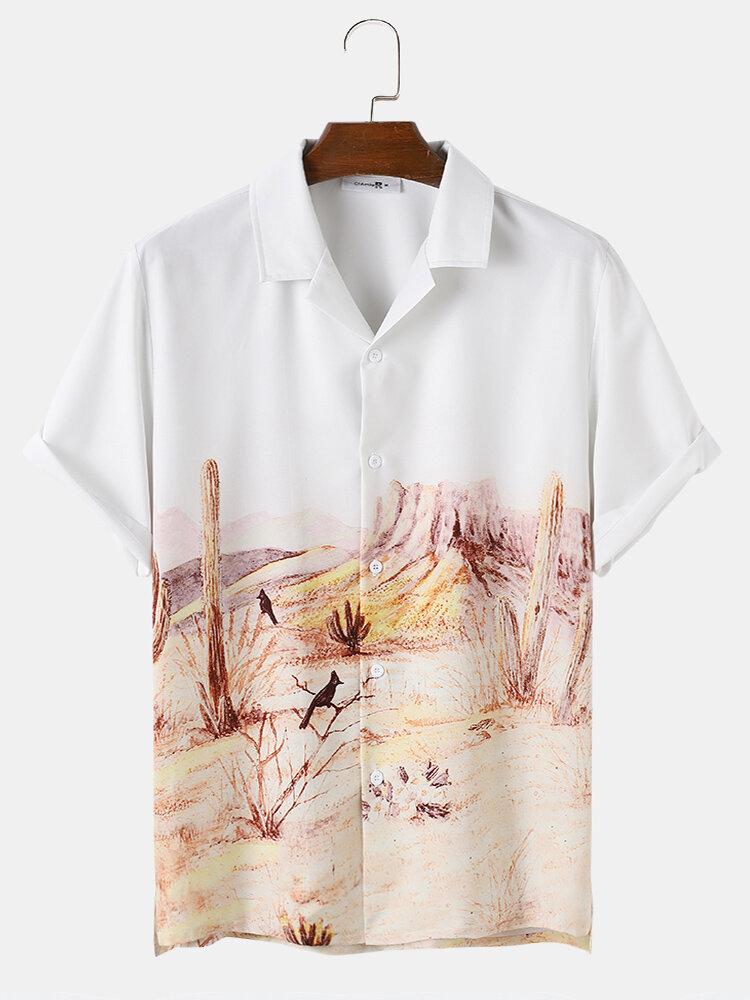 Mens Casual Landscape Print Patchwork Short Sleeve Shirts