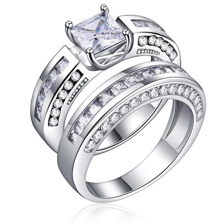 0b96620b0 2 pcs/set classic cubic zirconia womens ring bridal wedding platinum ...