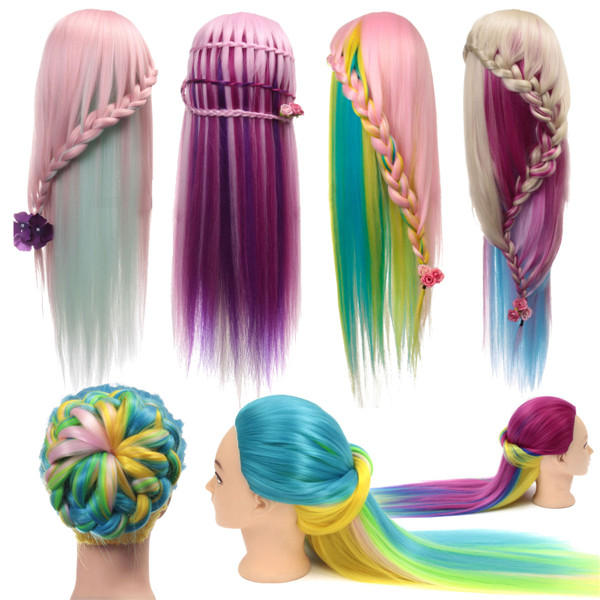 27'' Colorful Practice Training Head Long Hair Mannequin Hairdressing Salon Model - 1