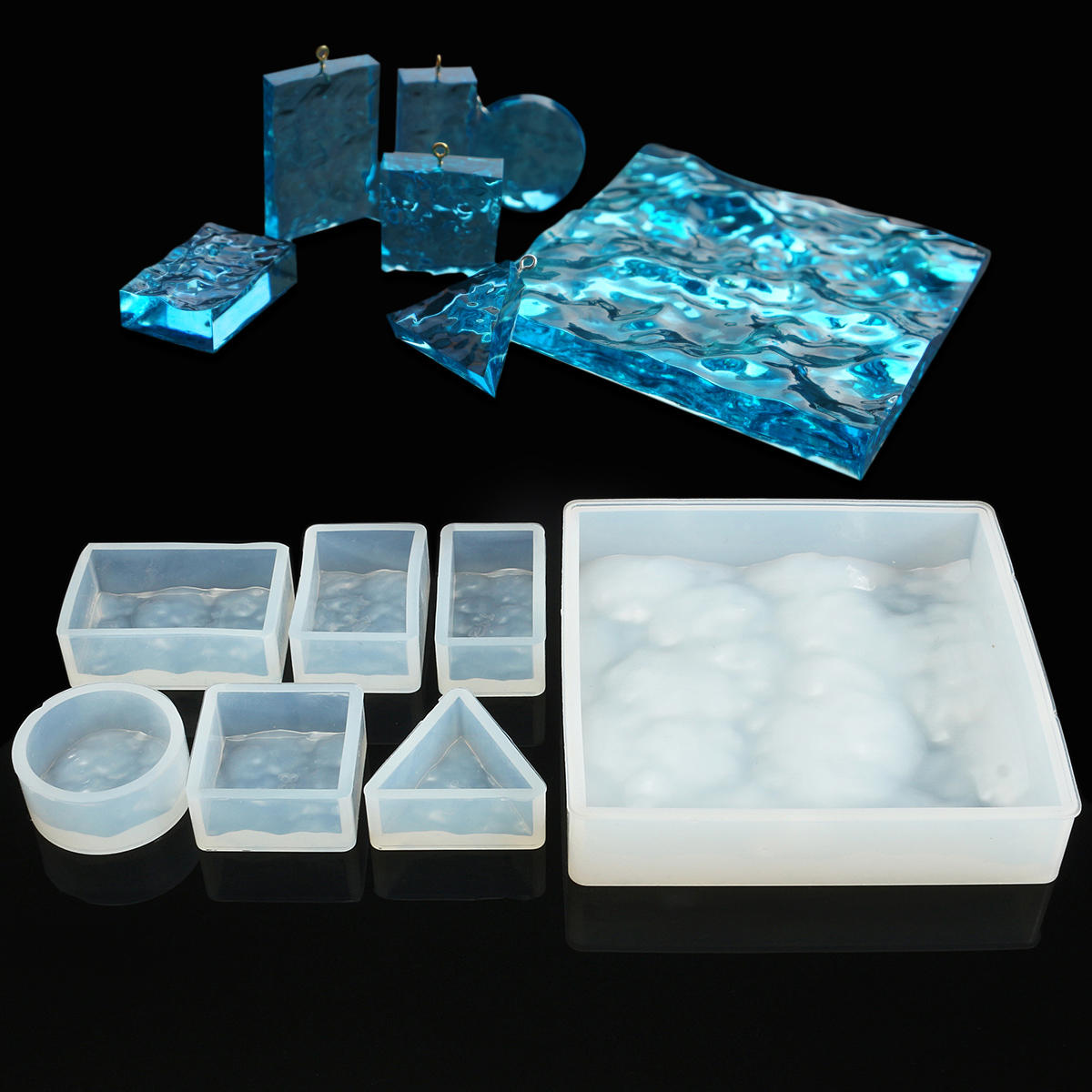 Crystal Adhesive Glue Silicone 3D Water Ripple Mold DIY Jewelry Pendant Pattern Die