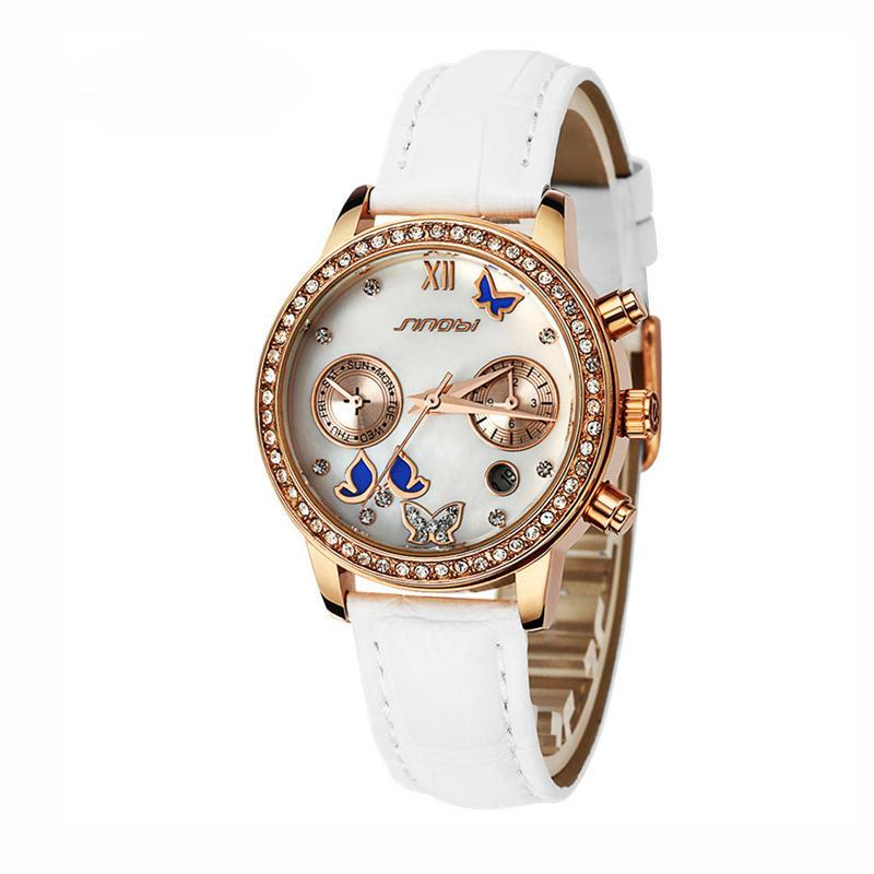 SINOBI6556كريستالالفراشةالمرأةجلدية كوارتز ساعة