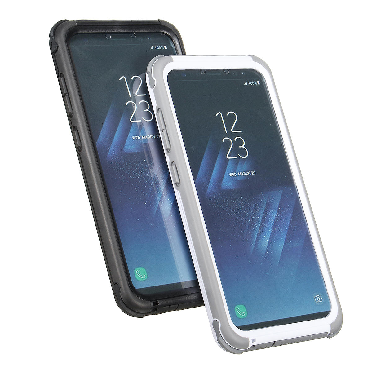 free shipping 7f682 9f412 2 In 1 Waterproof Snowproof Dustproof Shockproof PC PET TPU Case for  Samsung Galaxy S8 5.8''