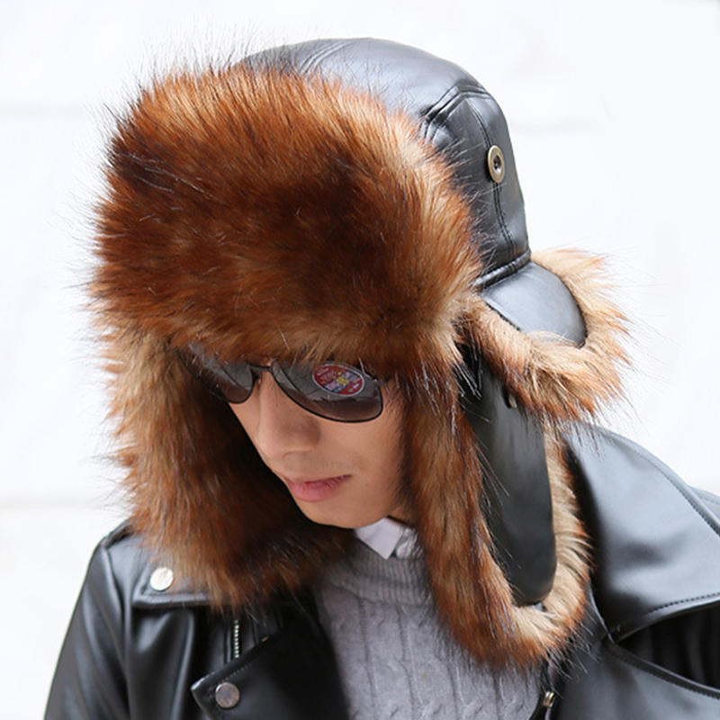 Unisex Winter Warm High End Leather Trapper Hat Animal Hair Earmuffs Savage Cap - 5