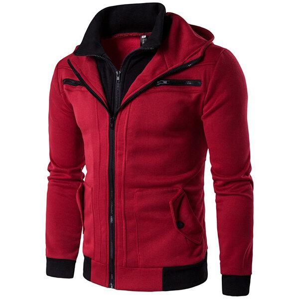पुरुषों आरामदायक डबल कॉलर हुडीज स्वेटरशॉट मल्टी पॉकेट जिपर स्लिम फ़िट स्वेटरशर्ट