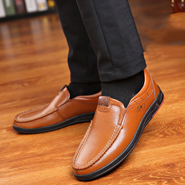 Men Genuine Leather Soft Insole Slip Resistant Casual Business Oxfords - 10