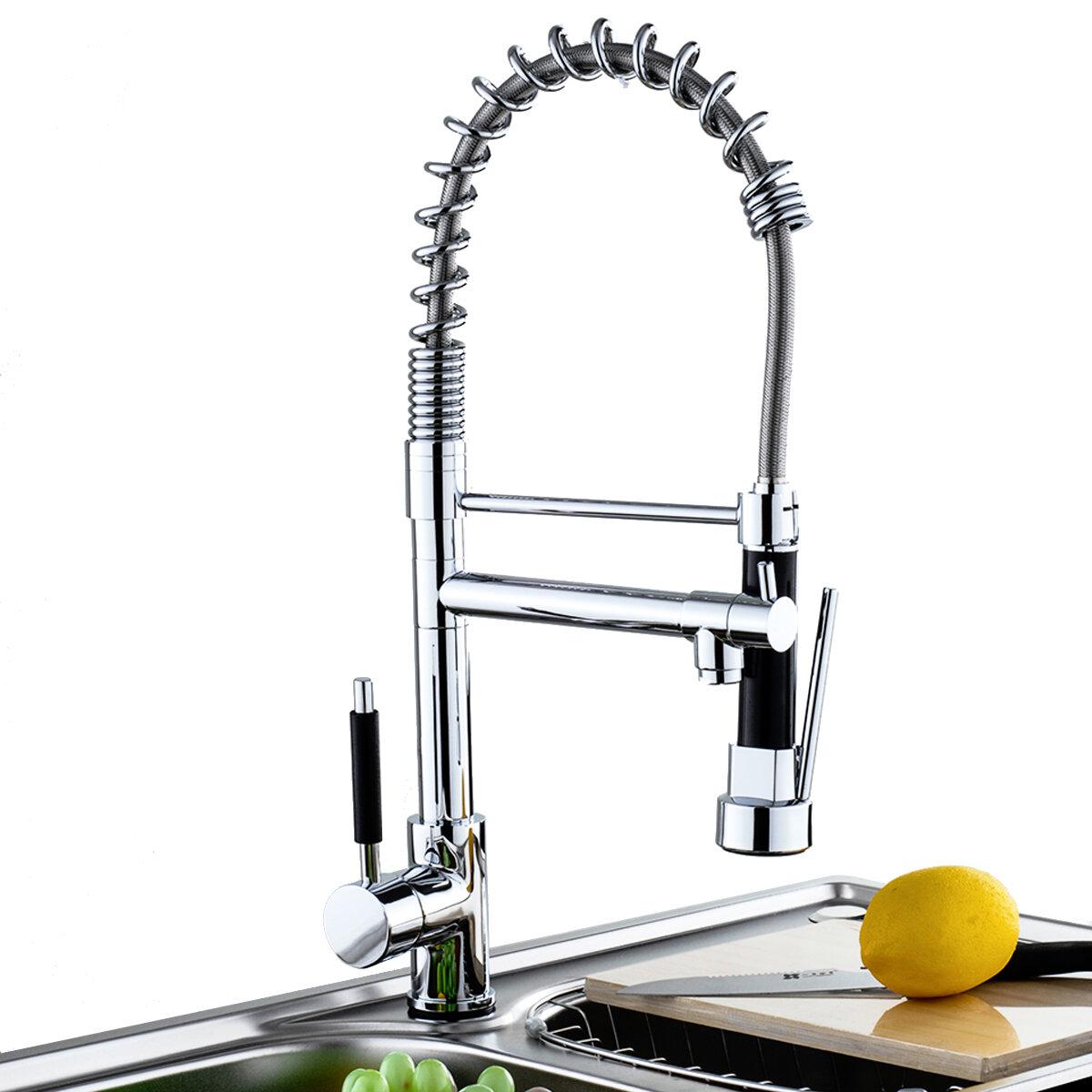 Смеситель для кухонной раковины, выдвижной кран Sparyer, вращение на 360 градусов, с одной ручкой, хромированная латунна